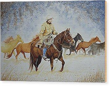 Ranch Rider Wood Print