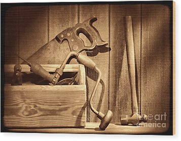 Ranch Tools  Wood Print by American West Legend By Olivier Le Queinec
