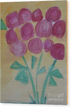 Wood Print featuring the painting Randi's Roses by Kim Nelson