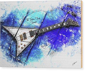 Randy's Guitar On Blue II Wood Print by Gary Bodnar