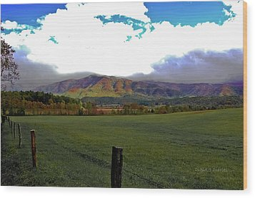 Range Neath The Mountain Wood Print by DigiArt Diaries by Vicky B Fuller