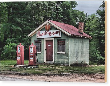 Rankins Grocery In Watercolor Wood Print by Lynne Jenkins