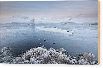 Wood Print featuring the photograph Black Mount Misty Winter Sunrise by Grant Glendinning