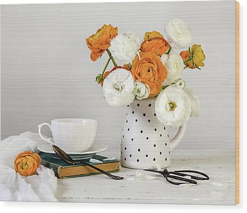 Wood Print featuring the photograph Ranunculus Bouquet by Kim Hojnacki