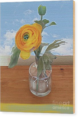 Wood Print featuring the digital art Ranunculus Spring by Alexis Rotella
