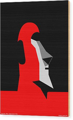 Rapanui Moai Wood Print by Asbjorn Lonvig