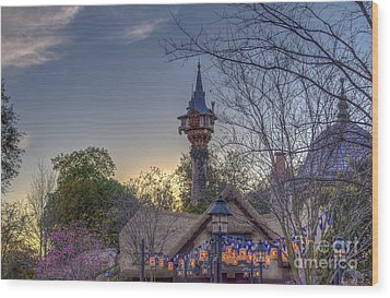 Rapunzel's Tower At Sunset Wood Print
