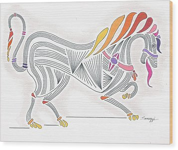 Rarin' To Go -- Stylized Medieval Prancing Horse W/ Rainbow Mane Wood Print