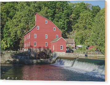 Rariton River And The Red Mill - Clinton New Jersey Wood Print by Bill Cannon