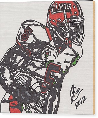 Wood Print featuring the drawing Rashard Mendenhall 1 by Jeremiah Colley