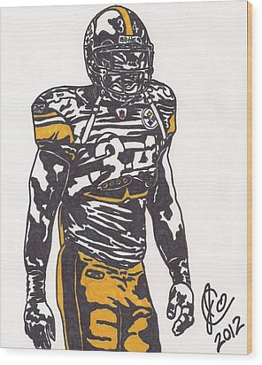 Wood Print featuring the drawing Rashard Mendenhall 2 by Jeremiah Colley