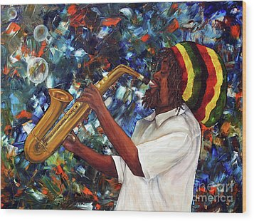 Rasta Sax Player Wood Print