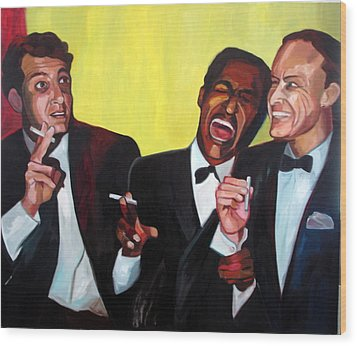Rat Pack Wood Print by Carmen Stanescu Kutzelnig