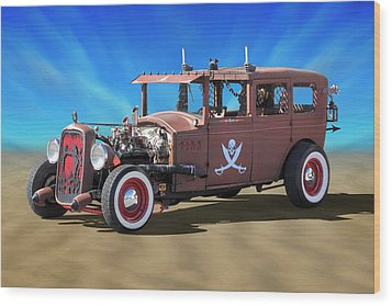 Wood Print featuring the photograph Rat Rod On Beach 3 by Mike McGlothlen