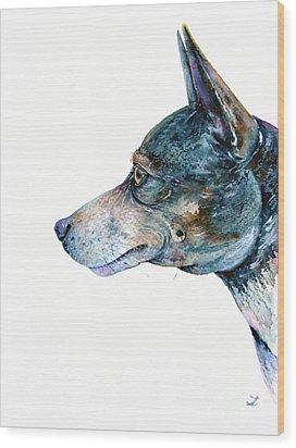 Wood Print featuring the painting Rat Terrier by Zaira Dzhaubaeva