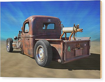 Wood Print featuring the photograph Rat Truck On Beach 2 by Mike McGlothlen