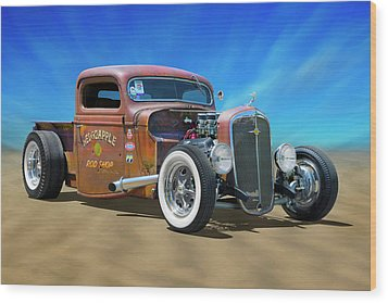 Wood Print featuring the photograph Rat Truck On The Beach by Mike McGlothlen