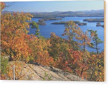 Rattlesnake Cliffs Squam Lake Wood Print by John Burk
