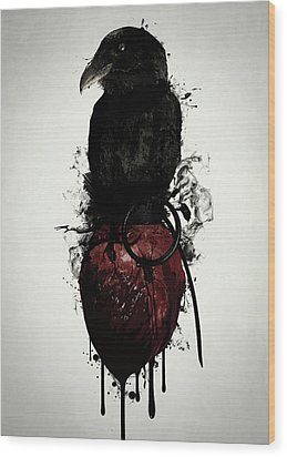 Wood Print featuring the digital art Raven And Heart Grenade by Nicklas Gustafsson