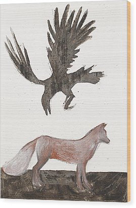 Raven And Old Fox Wood Print by Sophy White