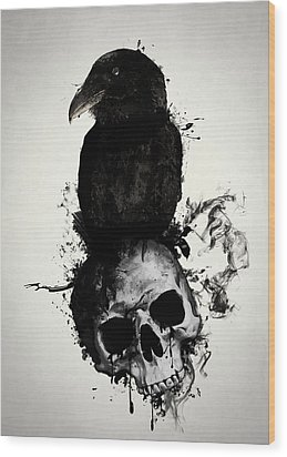 Wood Print featuring the mixed media Raven And Skull by Nicklas Gustafsson