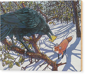 Raven And The Fox Wood Print