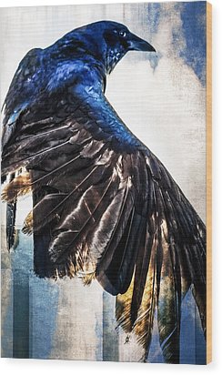 Raven Attitude Wood Print by Carolyn Marshall