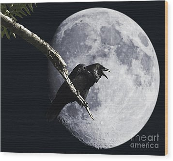 Raven Barking At The Moon Wood Print