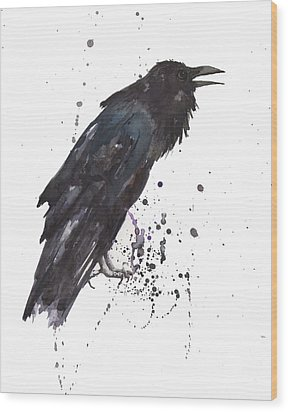 Raven  Black Bird Gothic Art Wood Print by Alison Fennell