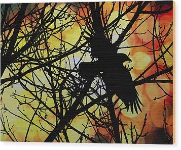 Raven Wood Print by Bob Orsillo