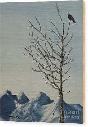 Wood Print featuring the painting Raven Brought Light by Stanza Widen