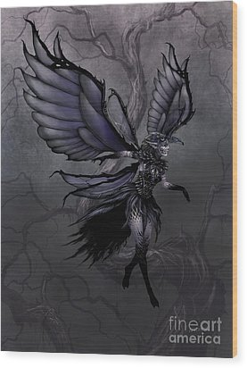 Wood Print featuring the digital art Raven Fairy by Stanley Morrison