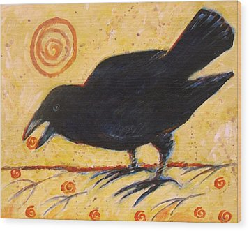 Raven Grazing Wood Print by Carol Suzanne Niebuhr