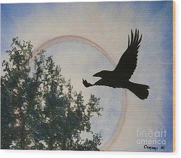 Raven Holds The Sun Wood Print by Stanza Widen
