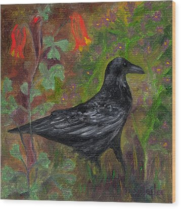 Raven In Columbine Wood Print by FT McKinstry