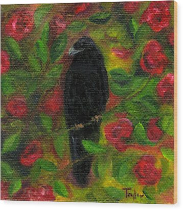Raven In Roses Wood Print by FT McKinstry