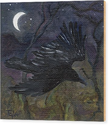 Raven In Stars Wood Print by FT McKinstry