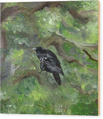 Raven In The Om Tree Wood Print