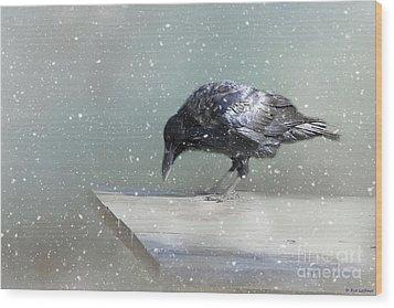 Raven In Winter Wood Print