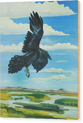 Raven Landing Wood Print by Amy Reisland-Speer