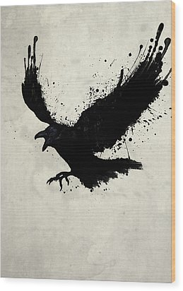 Raven Wood Print by Nicklas Gustafsson