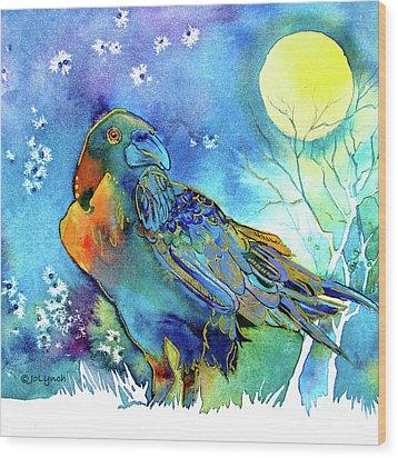 Raven Night Spirit Wood Print by Jo Lynch