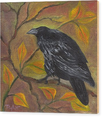 Raven On A Limb Wood Print by FT McKinstry