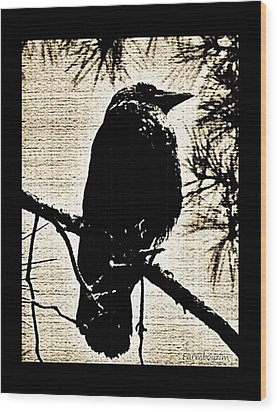 Raven On The Lookout Wood Print