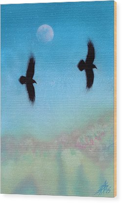 Raven Pair With Diurnal Moon Wood Print
