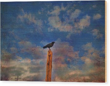 Wood Print featuring the photograph Raven Pole by Jan Amiss Photography