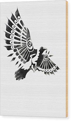 Raven Shaman Tribal Black And White Design Wood Print by Sassan Filsoof