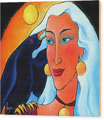 Raven Speaks Wood Print by Angela Treat Lyon