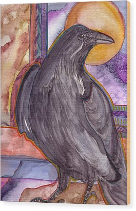 Raven Steals Sunlight Wood Print by K Hoover