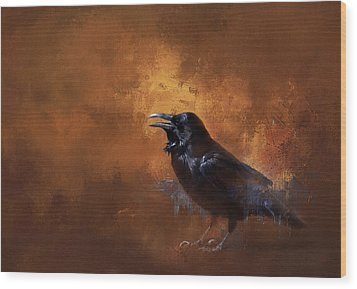 Wood Print featuring the painting Raven by Theresa Tahara